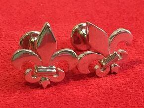 'Firenze' (fleur de lys) Cufflinks in Rhodium Plated Brass