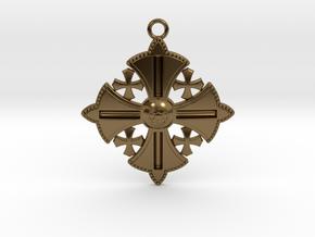 Jerusalem Cross Pendant  in Polished Bronze