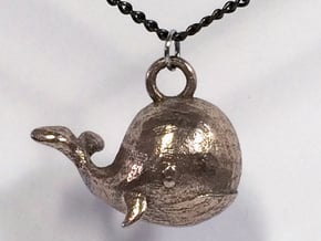 Whale Necklace Pendant in Polished Bronzed Silver Steel