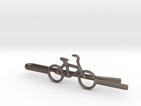 Bicycle tie clip in Polished Bronzed Silver Steel