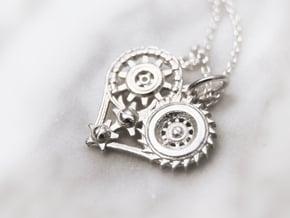 Mech Heart Pendant Mini in Polished Silver