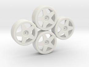 Losi Micro 1/24 Drift Wheel Set in White Natural Versatile Plastic