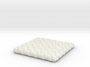 Pebble Coaster - Checkered Pattern 1 (Small Size) in White Natural Versatile Plastic