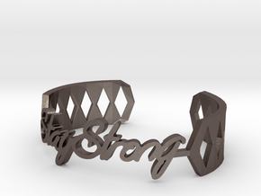 Bracelet:Stay Strong in Polished Bronzed Silver Steel: Medium