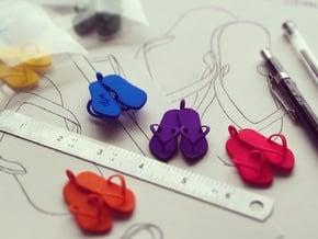 'Flip Flops' Strong and Flexible Plastic Pendant in Pink Processed Versatile Plastic