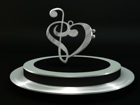 G-clef trebble clef pendant in Fine Detail Polished Silver