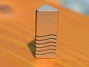 Fifth Element - Air Stone Keychain 2.5cm in Polished Bronzed Silver Steel