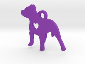 Pittie Love Pendant in Purple Processed Versatile Plastic