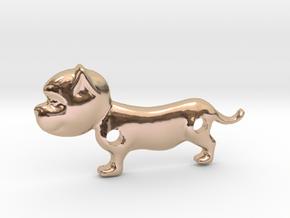 Bulldog Pendant in 14k Rose Gold Plated Brass