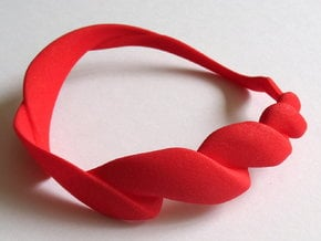 Spiral bangle - small in Red Processed Versatile Plastic
