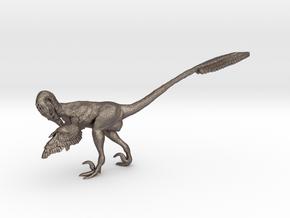 1:12 scale Preening Velociraptor Steel in Polished Bronzed Silver Steel