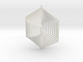 Pendant Wind Spinner 3D Hexagon in White Natural Versatile Plastic