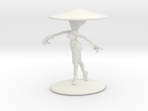 Girl With Hat 3'' in White Natural Versatile Plastic