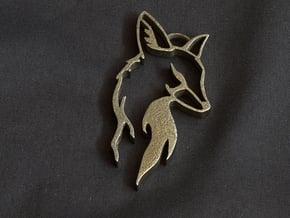 Fox Pendant in Polished Bronzed Silver Steel