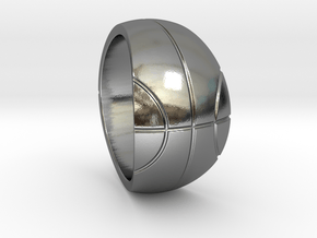 Size 11 Basketball Ring  in Polished Silver