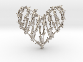 Barbed Wire Heart Cage Pendant in Rhodium Plated Brass