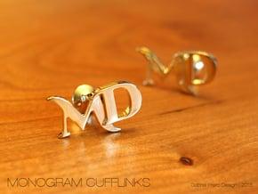 Monogram Cufflinks MD in 18k Gold Plated Brass
