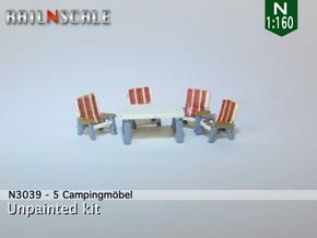 5 Campingmöbel (N 1:160) in Smooth Fine Detail Plastic