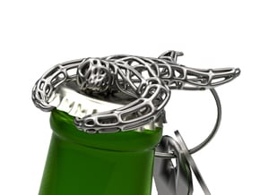Sloth Bottle Opener Keychain  in Polished Bronzed Silver Steel