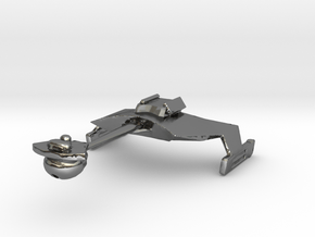 Klingon D7 Re-sized  in Fine Detail Polished Silver