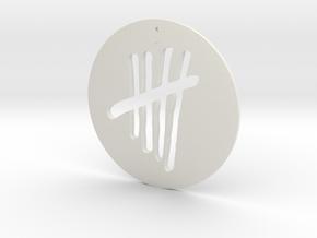 Tally Mark Pendant style 1 in White Natural Versatile Plastic
