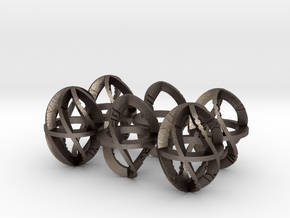 Axial Ring Dice: 1/2 Scale D60 VI VIII X XII XIV in Polished Bronzed Silver Steel