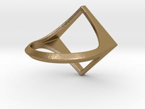 Square Ring - Sz5 in Polished Gold Steel