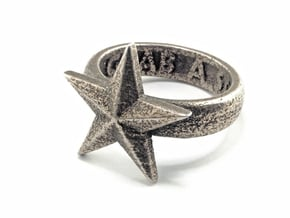 Star Ring (various sizes) in Polished Bronzed Silver Steel