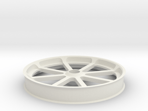 Smooth idler 100 mm, flanges in White Natural Versatile Plastic