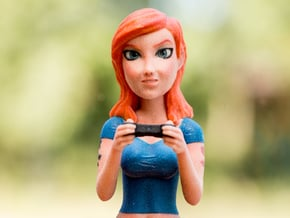 Redhead gamer girl mini bust in Full Color Sandstone