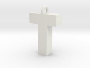 Alphabet (T) in White Natural Versatile Plastic