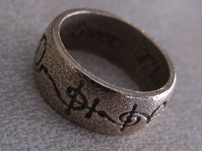 """""""T'hy'la"""" Vulcan Script Ring - Engraved Style in Polished Bronzed Silver Steel: 7 / 54"""