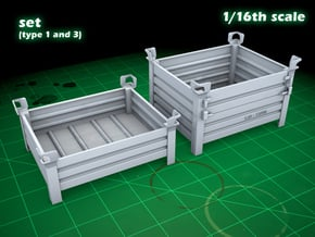 Stackable container set (type 1&3 - 1/16) in Smooth Fine Detail Plastic