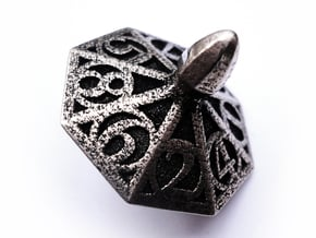 Top d8 in Polished Bronzed Silver Steel