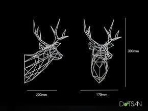 Stag Deer Trophy Head 300mm Facing Left in White Natural Versatile Plastic