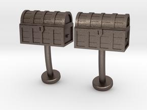 Tresure Chest cufflinks in Polished Bronzed Silver Steel