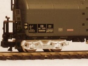 7131 N 2 Drehgestelle Minitrix Schwerölkesselw. in Smooth Fine Detail Plastic
