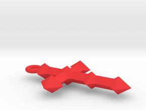 Cross Crest Pendant in Red Processed Versatile Plastic
