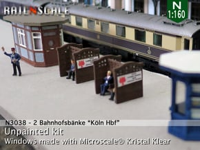 2 Bahnhofsbänke Köln Hbf (N 1:160) in Smooth Fine Detail Plastic