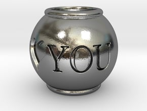 I love you - Pendant in Polished Silver