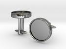 Round Cufflinks (D14) (Ellipsoid) in Premium Silver