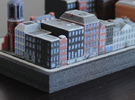 Amsterdam Canal houses 1x2 (set of 4) in Full Color Sandstone
