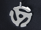 45 Record Spindle Pendant - 38mm dia. in Polished Silver