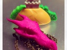 Dragon Skull Charm - 3DKitbash.com in Pink Strong & Flexible Polished
