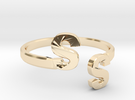 Initial Ring Band Adjustable Size in 14K Gold