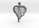 Steam Punk Gear Heart in Premium Silver