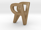 Two way letter pendant - RV VR in Matte Gold Steel