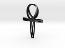 Double Ankh Pendant in Matte Black Steel