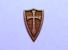 Cross Shield Pendant in Matte Bronze Steel