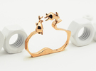 Double Rabbit Ring in Polished Bronze